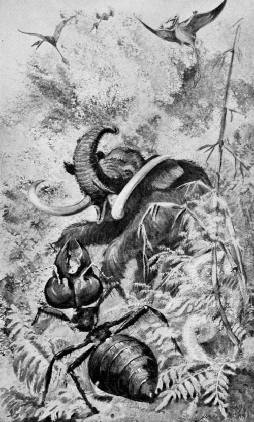 Gaint ant verses wolly mammoth in Jovian jungle.
