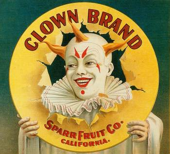 Fruit crate label: Clown Brand, Sparr Fruit Co., California
