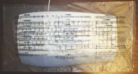 Plastic keyboard bag with warnings