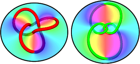 Diagrams of holograms showing knotted light