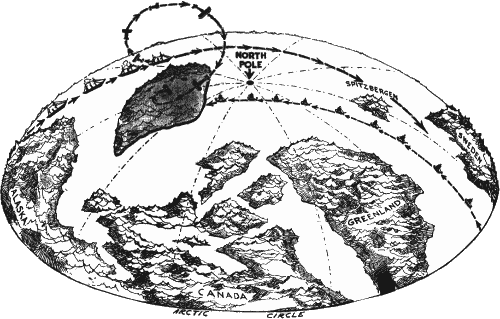 diagrammatic map showing the location of the lost continent amundsen s proposed route and how his aeroplane will leave the maud and circle over the