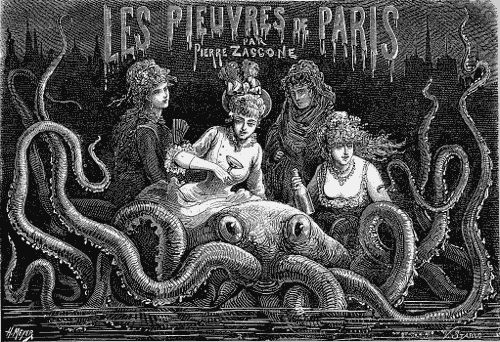 Decadent Parisian women partying on the back of an octopus.