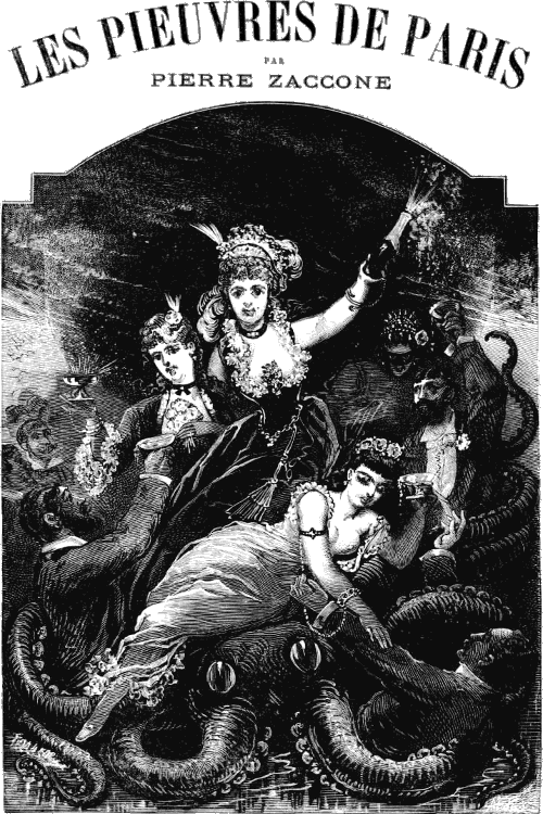 More decadent Parisian women partying on an octopus, which is ensnaring men.