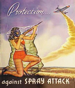 Pin-up girl in gas mask and plastic bag attacking gas-spraying Japanese zero with a rifle - 'Protection Against Spray Attack'