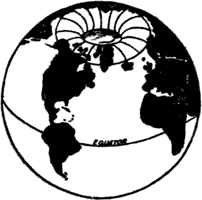 Globe with opening at northern 'pole'