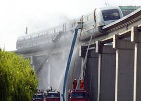 Shanghai maglev monorail on fire.