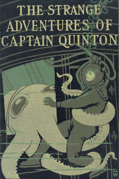'The Strange Adventures of Captain Quinton' cover showing man in diving suit battling giant devil-fish in sunken ship